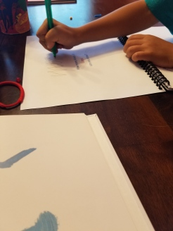 My son drawing lines
