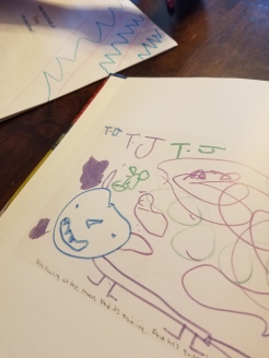 My daughter drawing lines (in the upper corner)